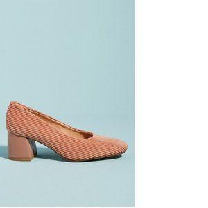 Pink Anthropologie Corduroy Block Heels (NWT)